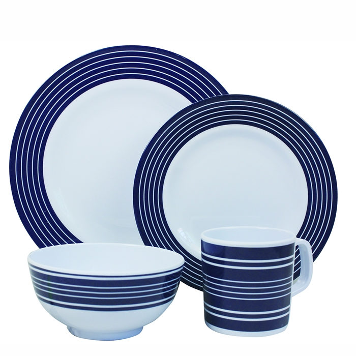 Navy Pinstripe Melamine Dinner set - 16 Piece Set