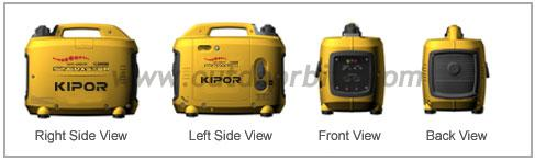 Kipor IG1000 generator side, front, and rear views