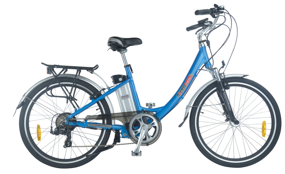 Hunter step through electric bike in blue colour scheme