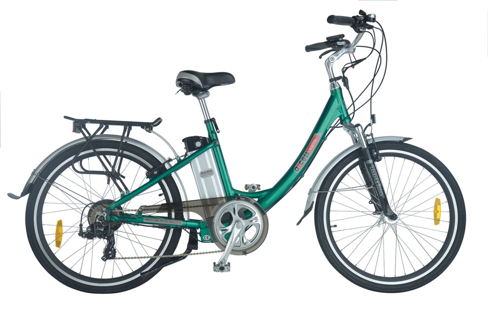 Hunter step through electric bike in green colour scheme