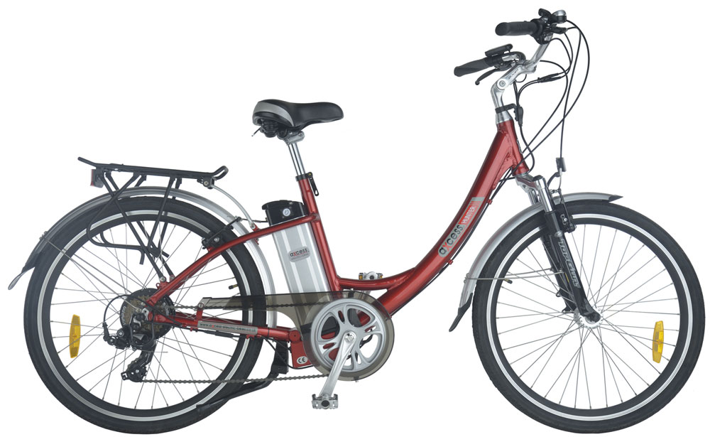 Hunter step through electric bike in red colour scheme