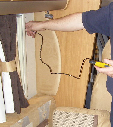 Damp testing during a motorhome habitation service