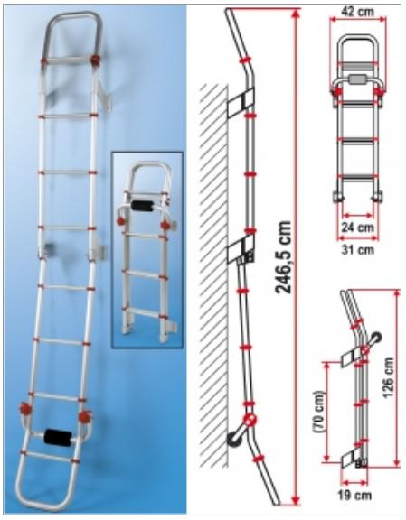 Fiamma Deluxe 8 Red Ladder - Aluminium - 8 step ladder