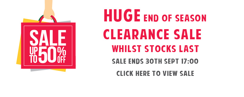 End of Season Clearance Sale Now ON